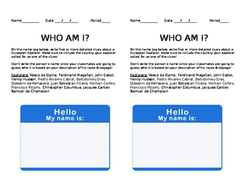 "European Explorer ""Who Am I?"" Nametag Activity"