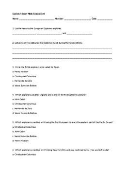 European Explorers Assessment 3rd Grade SS3H2