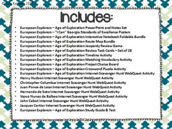 European Explorers Unit Bundle- Cabot, Hudson, Balboa, Leon, Columbus, Cartier