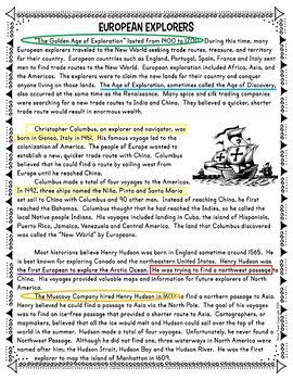 European Explorers Color by Number, Reading Passage and Text Marking