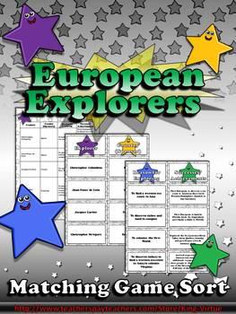 European Explorers: Columbus, Ponce de León, Cartier, Newport Matching Game Sort