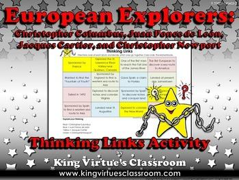 European Explorers: Columbus, Ponce de León, Cartier, Thinking Links Activity #1