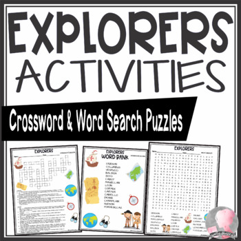 European Explorers Activities Crossword Puzzle and Word Search Find