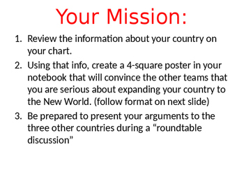 European Explorers Group Activity Instructions Powerpoint