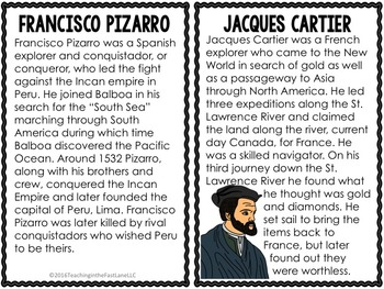 European Explorers Informational Trading Cards (U.S. History)