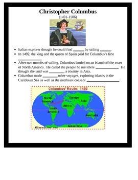 European Explorers Interactive Notes 4th Grade Social Studies