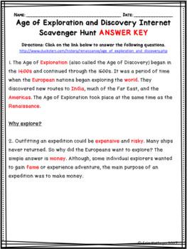 European Explorers - Age of Exploration Internet Scavenger Hunt WebQuest