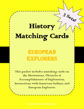 European Explorers (Exploration of the U.S.) Matching Cards