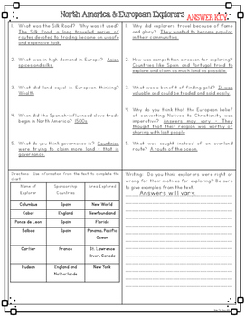 European Explorers & North America Nonfiction Differentiated Reading Passages