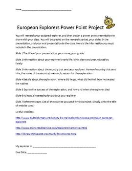 European Explorers Power Point Project