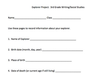 European Explorers Project Packet