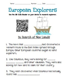 European Explorers: QRCode Research Worksheet