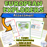 European Explorers Assessment includes vocabulary, map skills and higher level