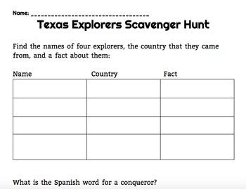 European Explorers Scavenger Hunt