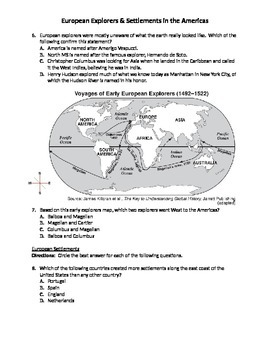 European Explorers & Settlements (Test & Table-Worksheets)