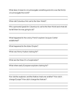 European Explorers Study Guide  Or Quiz