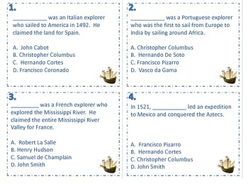 European Explorers Task Cards