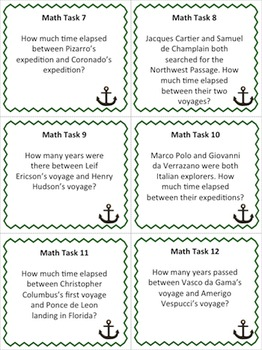European Explorers Timeline Task Cards (Common Core ELA)