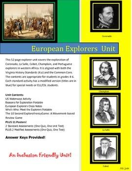 Early European Explorers Unit: Cabot, Champlain, Coronado, LaSalle, and Portugal