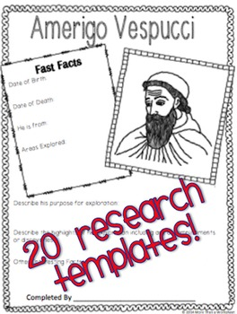 European Explorers Who's Who (Research Project with Creative Extensions)