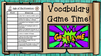 Explorers of Louisiana Vocabulary Presentation and Matching Game