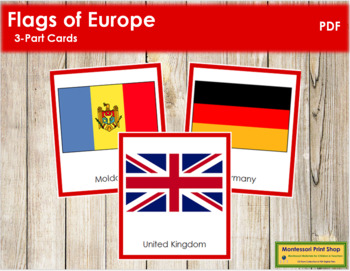 European Flags: 3-Part Cards (color borders)