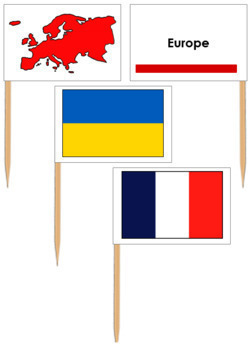 European Flags - Pin Map Flags (color-coded)