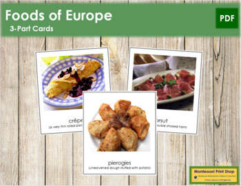 European Food: 3-Part Cards