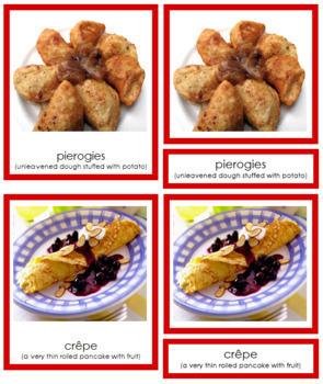 European Food: 3-Part Cards (color borders)