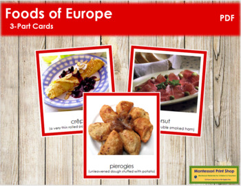 European Food: 3-Part Cards (color borders)