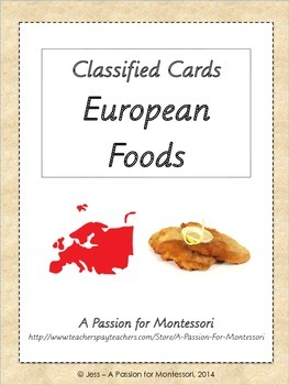 European Foods, Classified Cards, Flash Cards, Europe continent kit