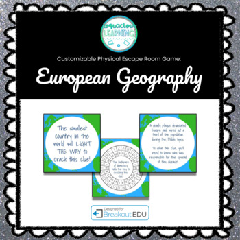 European Geography Customizable Escape Room / Breakout Game