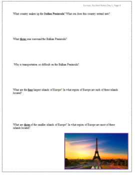 European Geography Guided Notes Packet