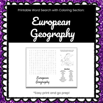 European Geography Printable Word Search Puzzle