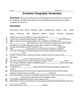 European Geography and Greece Vocabulary