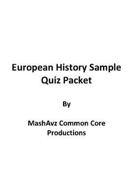 European History Sample Quiz Packet