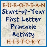 European History First-Letter Printable - Great for Back t