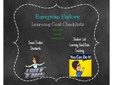European History Student Learning Goal Checklist
