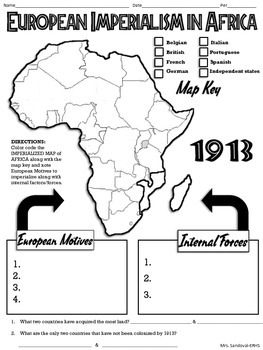European Imperialism in Africa Map Handout TpT