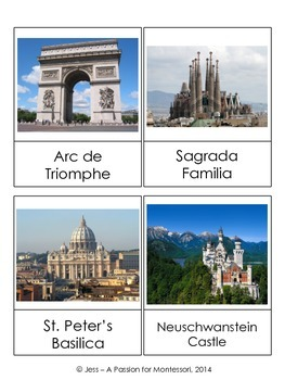 European Landmarks, 20 Classified Cards, Montessori continent box