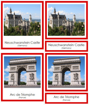 European Landmarks: 3-Part Cards (color borders)
