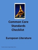 European Literature Common Core Standards Checklist in MS Word