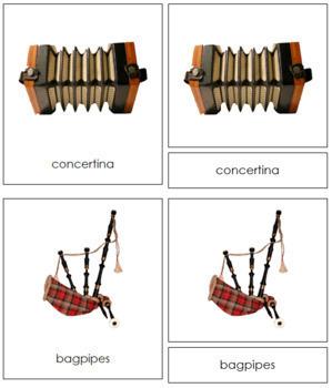 European Musical Instruments: 3-Part Cards