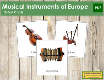European Musical Instruments: 3-Part Cards