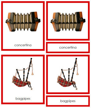 European Musical Instruments: 3-Part Cards (color borders)