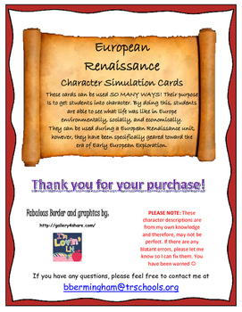 European Renaissance Character Simulation Cards