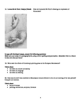 European Renaissance Test Assessment.  History 101