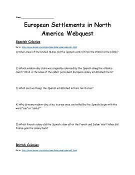 European Settlements in North America-Spanish, English, Dutch, & French Colonies