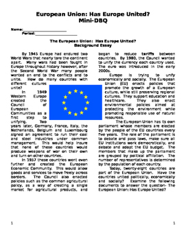 European Union Document Based Questions