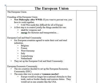 European Union PowerPoint with Note Sheet